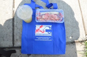 Lobster Roll and Ginger Limeade.  I bought the bag, too, as a nice souvenir and reusable bag for groceries.