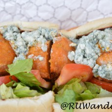 Buffalo Chicken: Chicken meatballs in tangy buffalo sauce served with lettuce, tomato and bleu cheese