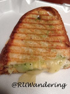 Turkey Panini: Turkey, Provolone Cheese, Bacon, Mayo, Olive oil, Avocado