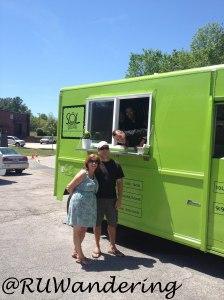 Schaumann at Cary Creative Center Rodeo (food truck fan Dawn LaRue on the left)