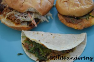 BBQ Pork Sandwich, a Fried Pimento Cheese slider, and Jerk Chicken Tacos