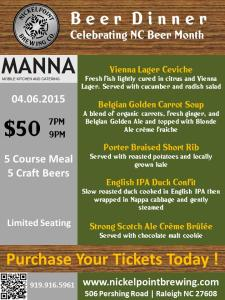 Manna-Nickelpoint Beer Dinner