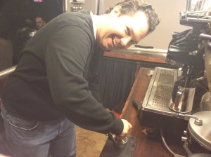 Tamping like a Champ on Caffe Bellezza for their first anniversary