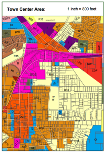 Fuquay-Varina's Town Center Zoning Map (2014)